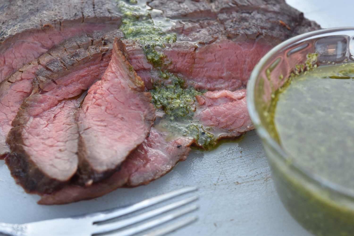 Flank Steak with Chimichurri Sauce - With Two Spoons