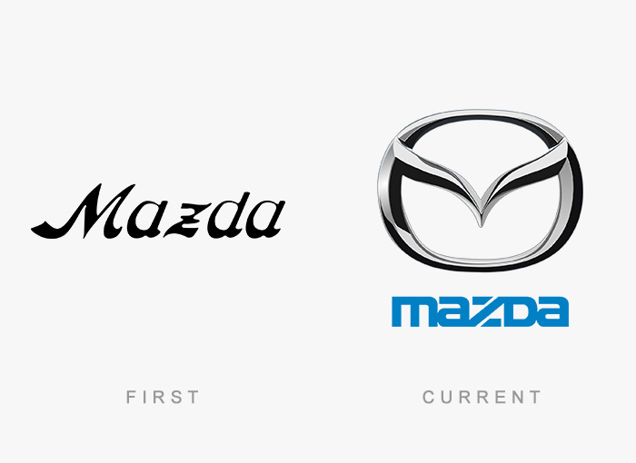 Mazda old and new logo