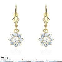 14K Solid Yellow Gold Diamond And Aquamarine Flower Dangle ...