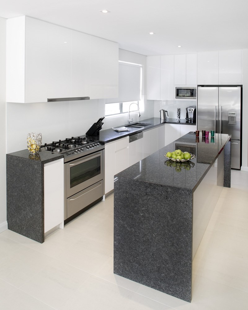 Grey Benchtop Kitchen Steel Grey Natural Stone Quantum Quartz Natural Stone