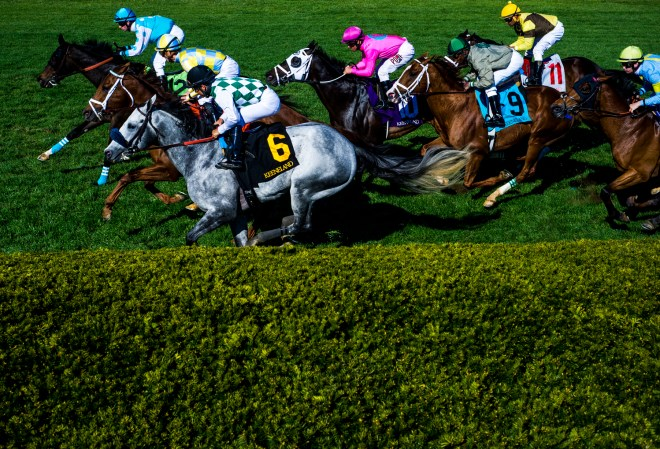 The final race of Sunday, April 17, of the 2016 Spring Race Meet at Keeneland Race Track finishes on the turf. Kasaqui (6) won, ridden by Paco Lopez.