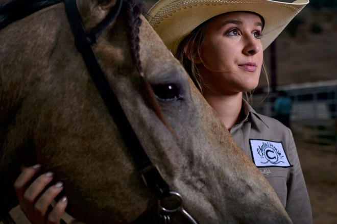 "Annie Herring, 16 of Graford, Tx, will competes in Pole bending and Barrel racing in the Best of the Best timed events rodeo in Churchrock, NM. ""I came for the experience, I wanted to a new rodeo"" Herring said."