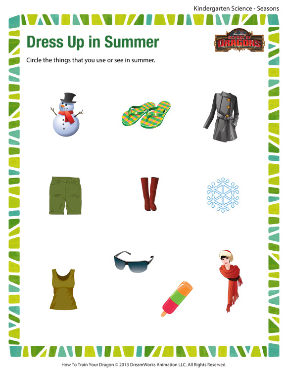 Dress Up in Summer \u2013 Free Science Printable Worksheets and PDFs