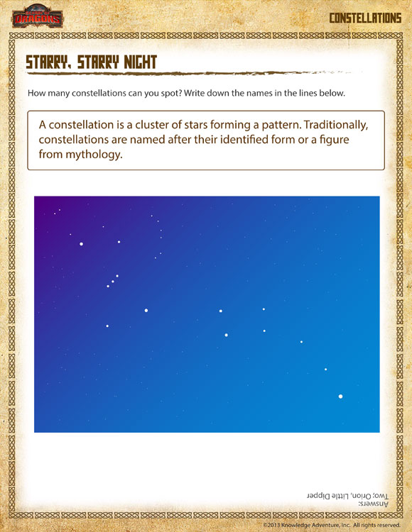 Starry, Starry Night View \u2013 Free Astronomy Science Worksheet for
