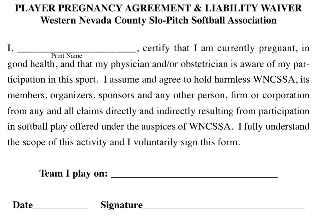 Pregnancy Agreement  Liability Waiver - liability waiver sample