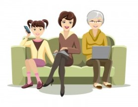 Sitting Females on Couch with Gadgets