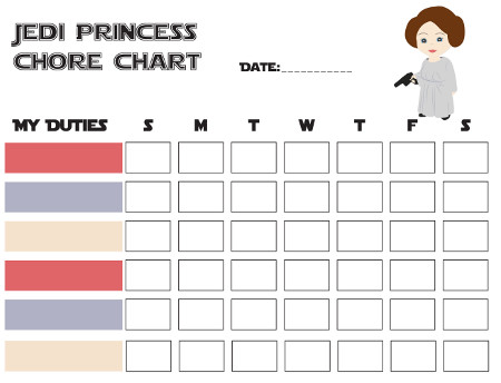 Star Wars Themed Printable Free Chore Charts for The Jr Jedi and