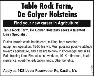 Find Your New Career In Agriculture, Table Rock Farm / De Golyer