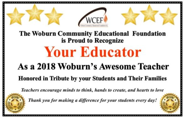 2018 WATT Award Certificate - Woburn Community Educational Foundation