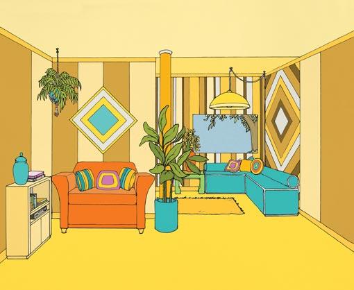 Empty Living Room Cartoon