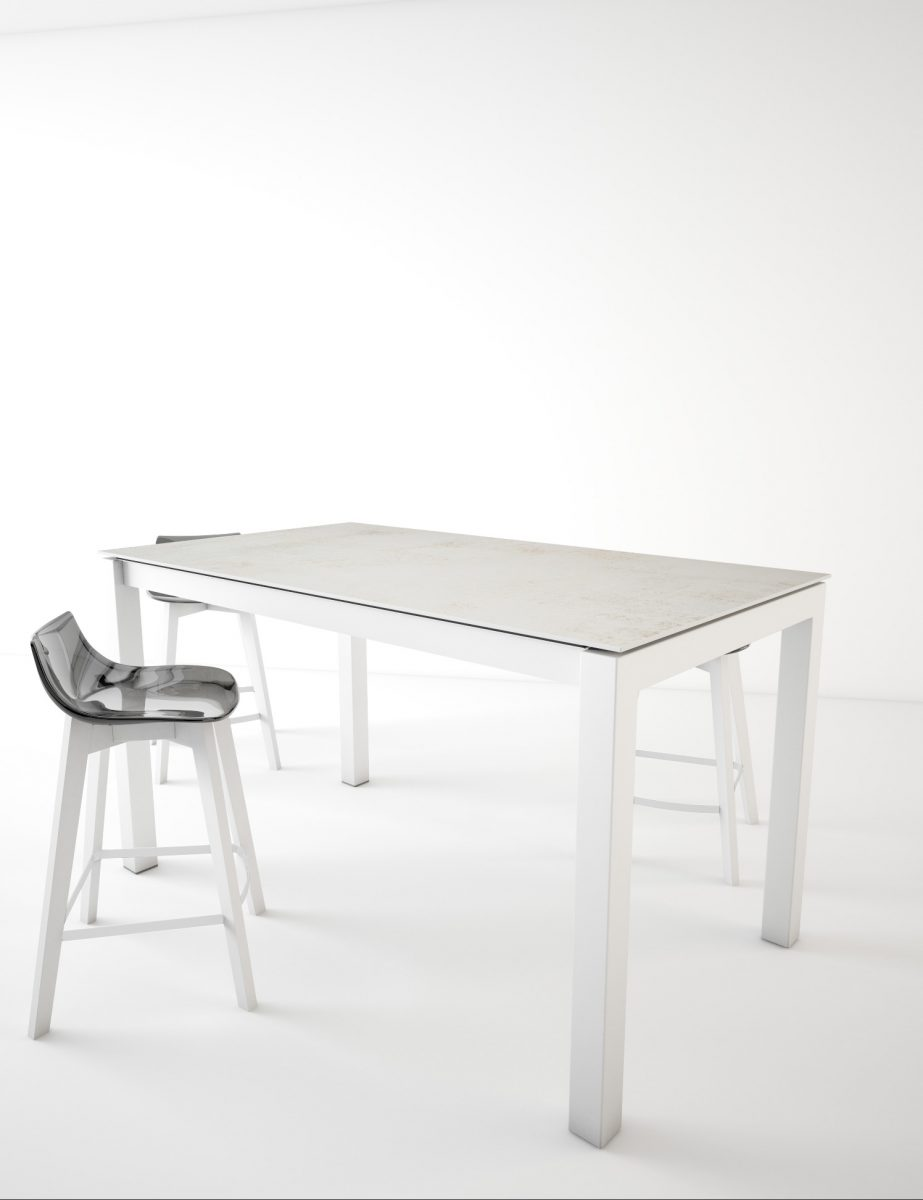 Table Metal Blanc Table Bar Kerala Dekton Blanc Concrete Et Tabouret Fantasy
