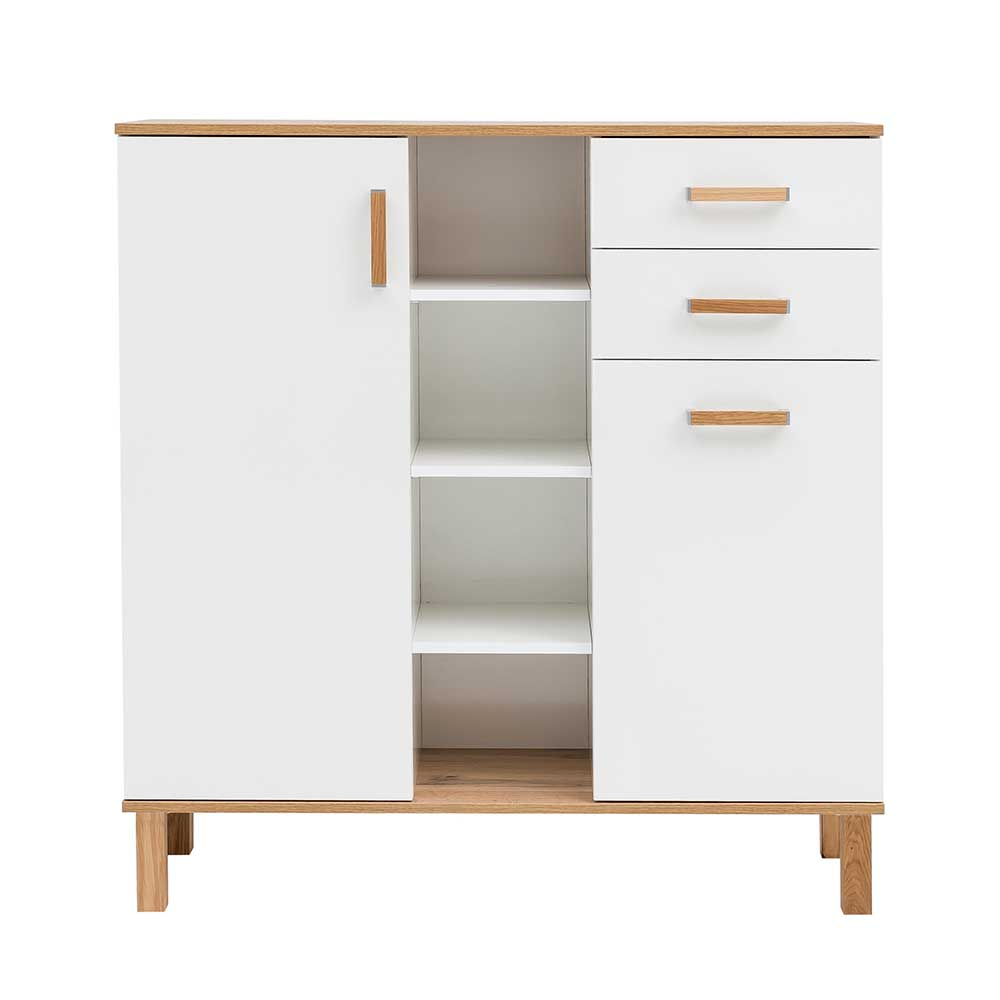 106x115x35 Flur Highboard Im Scandi Chic In Weiß