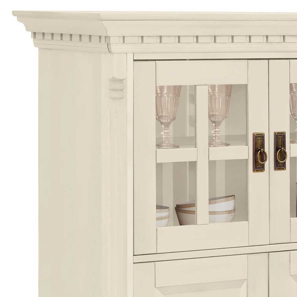 Highboard Landhaus Landhaus Highboard In Creme Gewachst Aus Kiefer Massivholz - Rospus