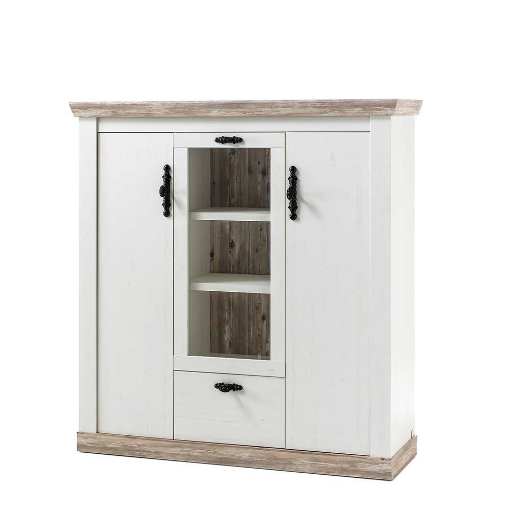 Highboard Landhaus Scandi Landhaus Highboard In Weiß Pinie Shabby Nedita 140 Cm Breit