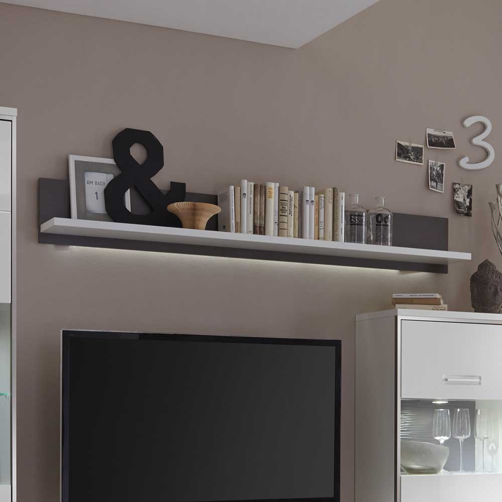 Highboard Grau Wandregal Tacroma In Weiß Anthrazit Mit Led Beleuchtung