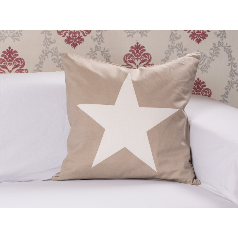Kissenhülle Taupe Cushion Cover Big Star Taupe, Kissenhülle Sand Mit Stern