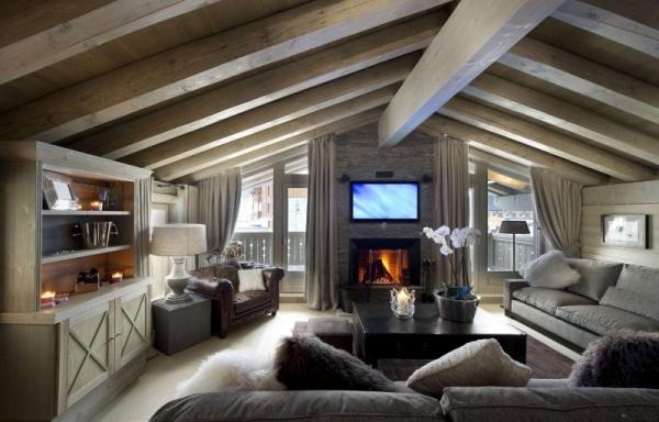 Wohnzimmer Luxus Design. Modernes Wohnzimmer Mit Kamin Modernes