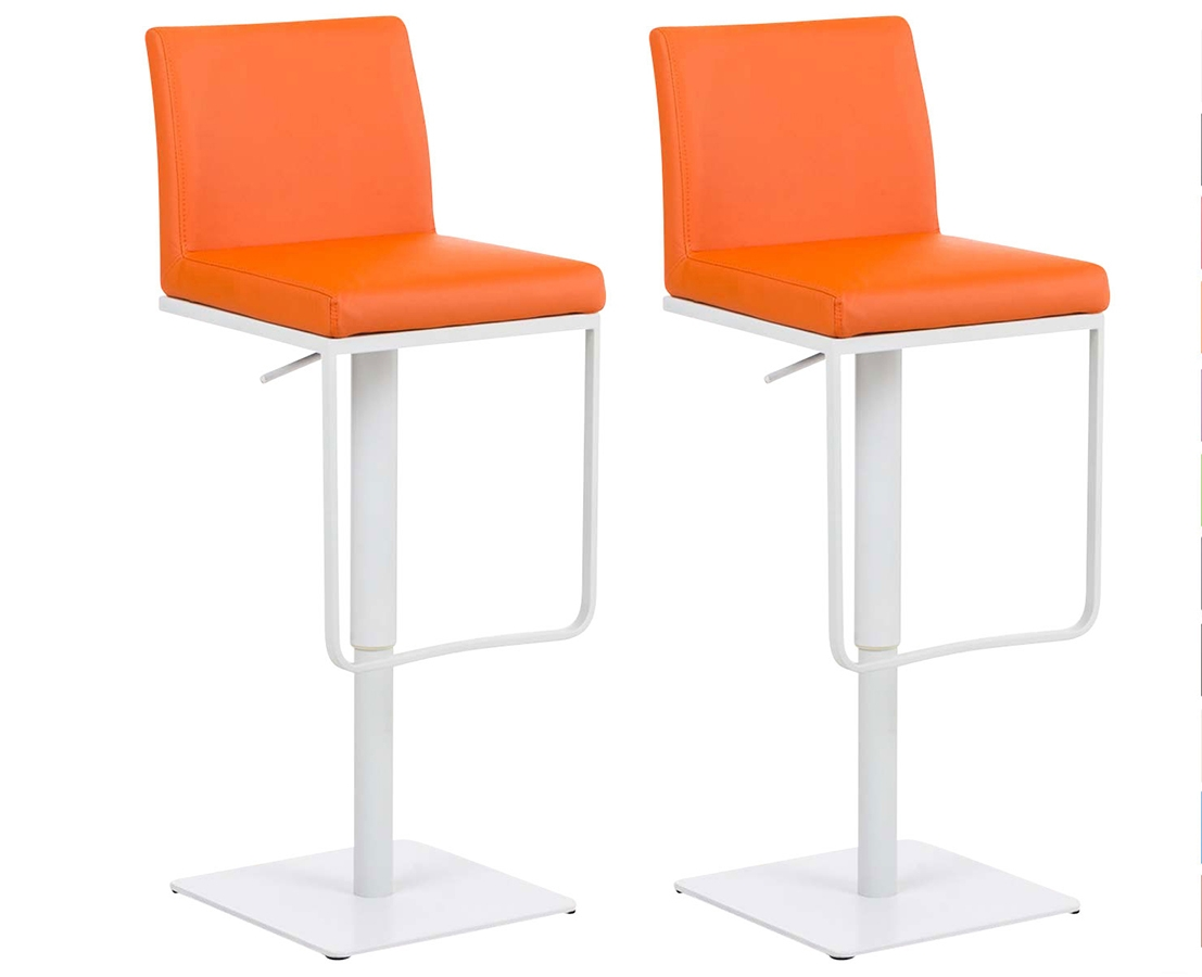 Küche Orange Weiß 2er Set Barhocker Panama Kunstleder Orange Weiß