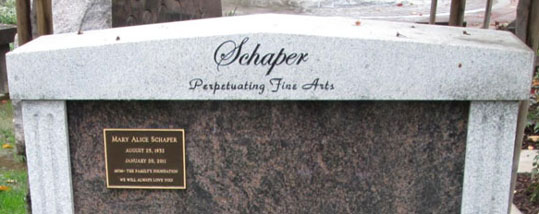 Oakdale Cemetery Grave Monument in Memory of the Schaper Family