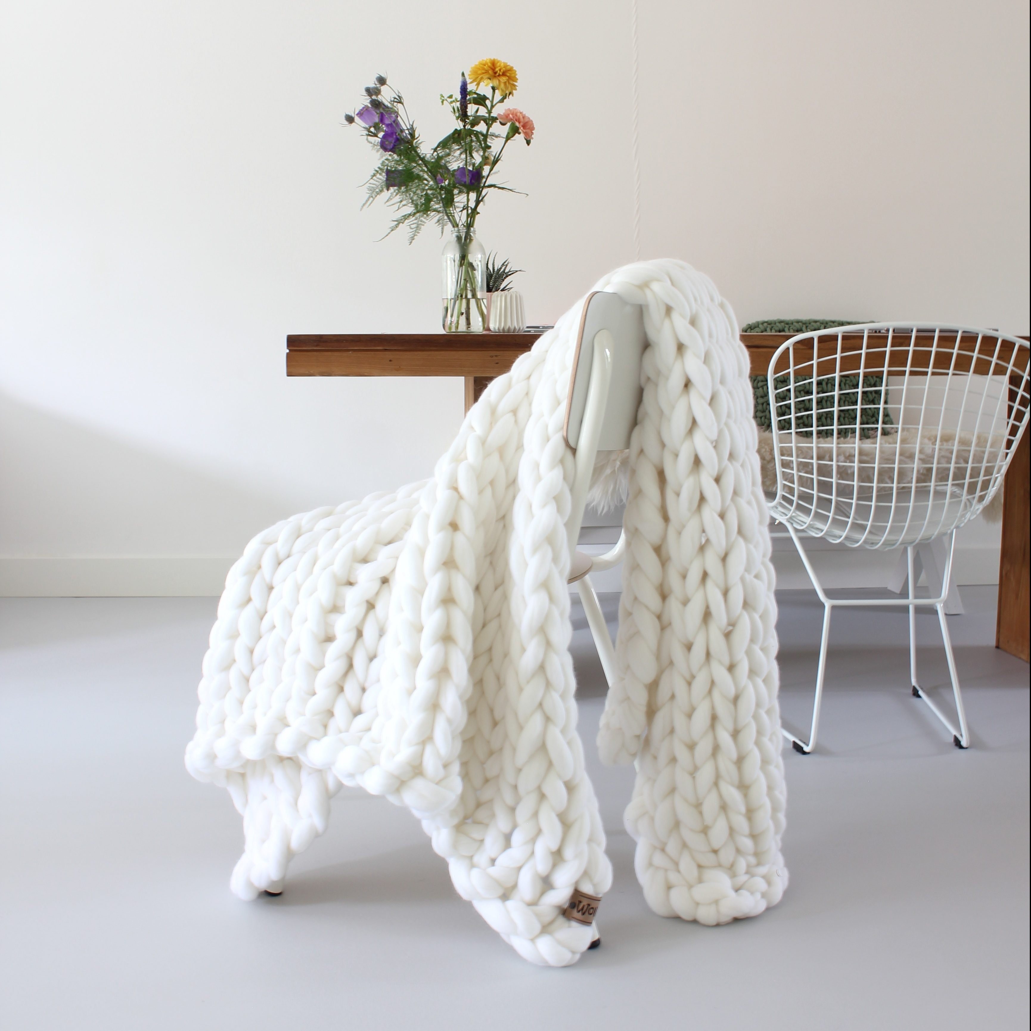 Grof Gebreid Plaid Throw Snow White Organic Wool