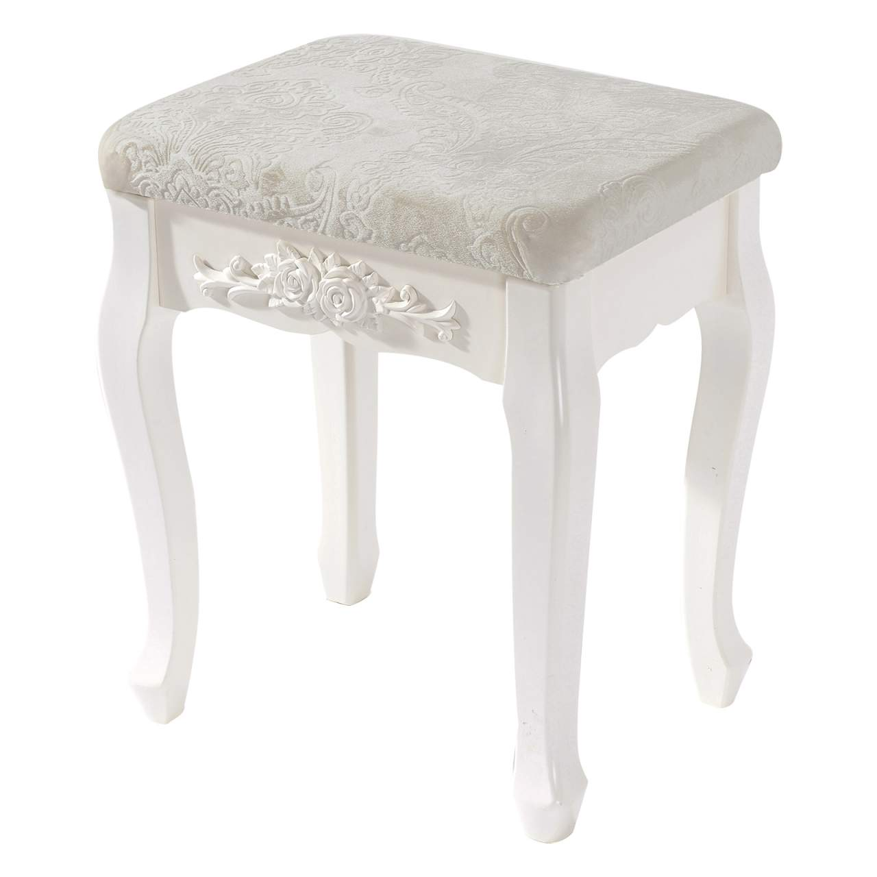 Polsterhocker Creme Creamy White Dressing Table Stool Made Of Mdf Wood | Woltu.eu