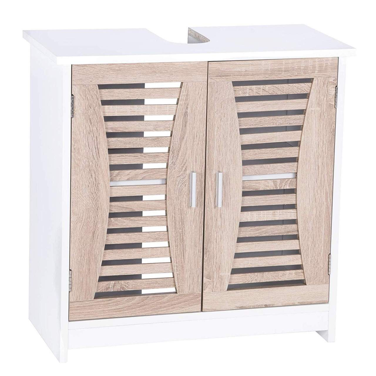 Under Sink Storage Bathroom Accessories Cabinet Free Standing Cupboard Unit White Bamboo Woltu Eu
