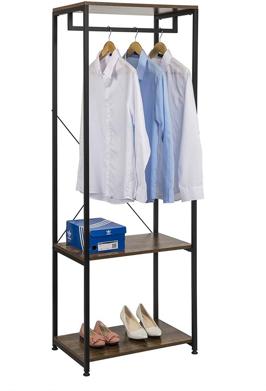 Schuhregal Aus Metall Clothes Rack With Shoe Rack Made Of Metal And Wood | Woltu.eu