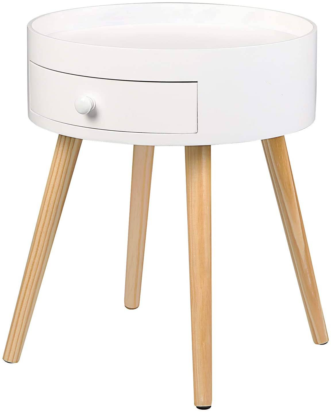 Nachtschrank Modern Bedside Table With Drawer, White | Woltu.eu