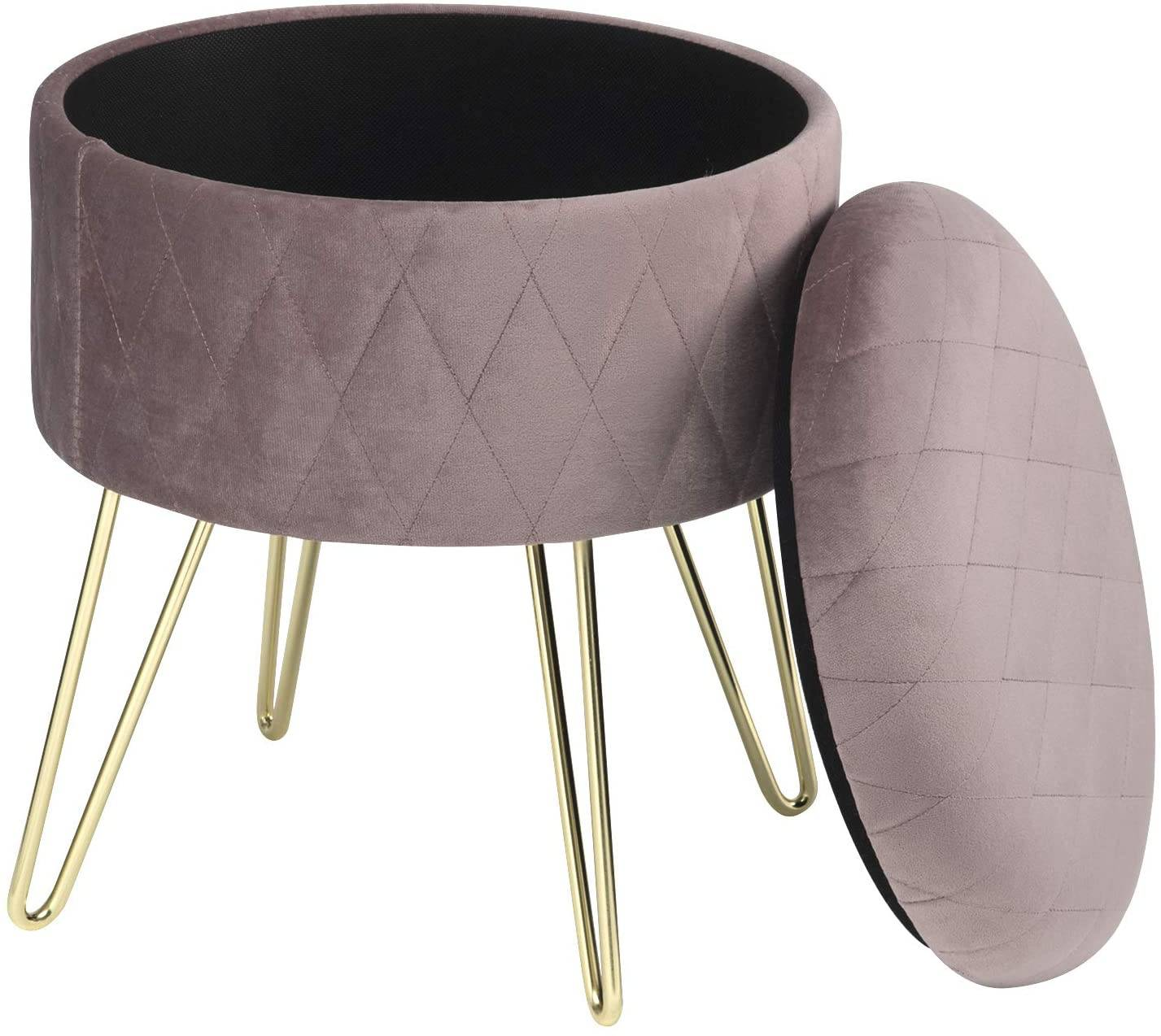 Polsterhocker Creme Upholstered Stool With Storage Space Made Of Velvet, Round | Woltu.eu