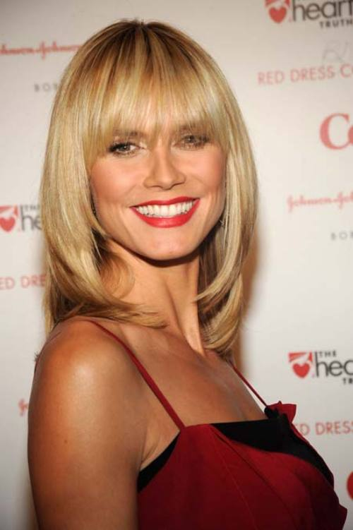 Layered Hairstyles For Straight Hair Best Celebrity Blunt Bangs Heidi Klum Women Hairstyles