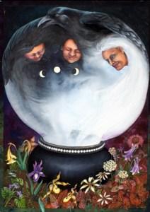 Crone, Mother, Maiden, a 40x30 watercolor by Helen Klebesadel.
