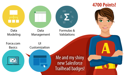 Me and my five shiny new Salesforce Trailhead badges!