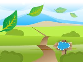 Leaf blowing across Salesforce Trailhead