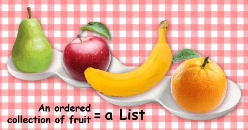 An ordered collection of fruit equals a List