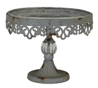 PEDESTAL CAKE STAND Metal Filigree with Glass Dessert ...