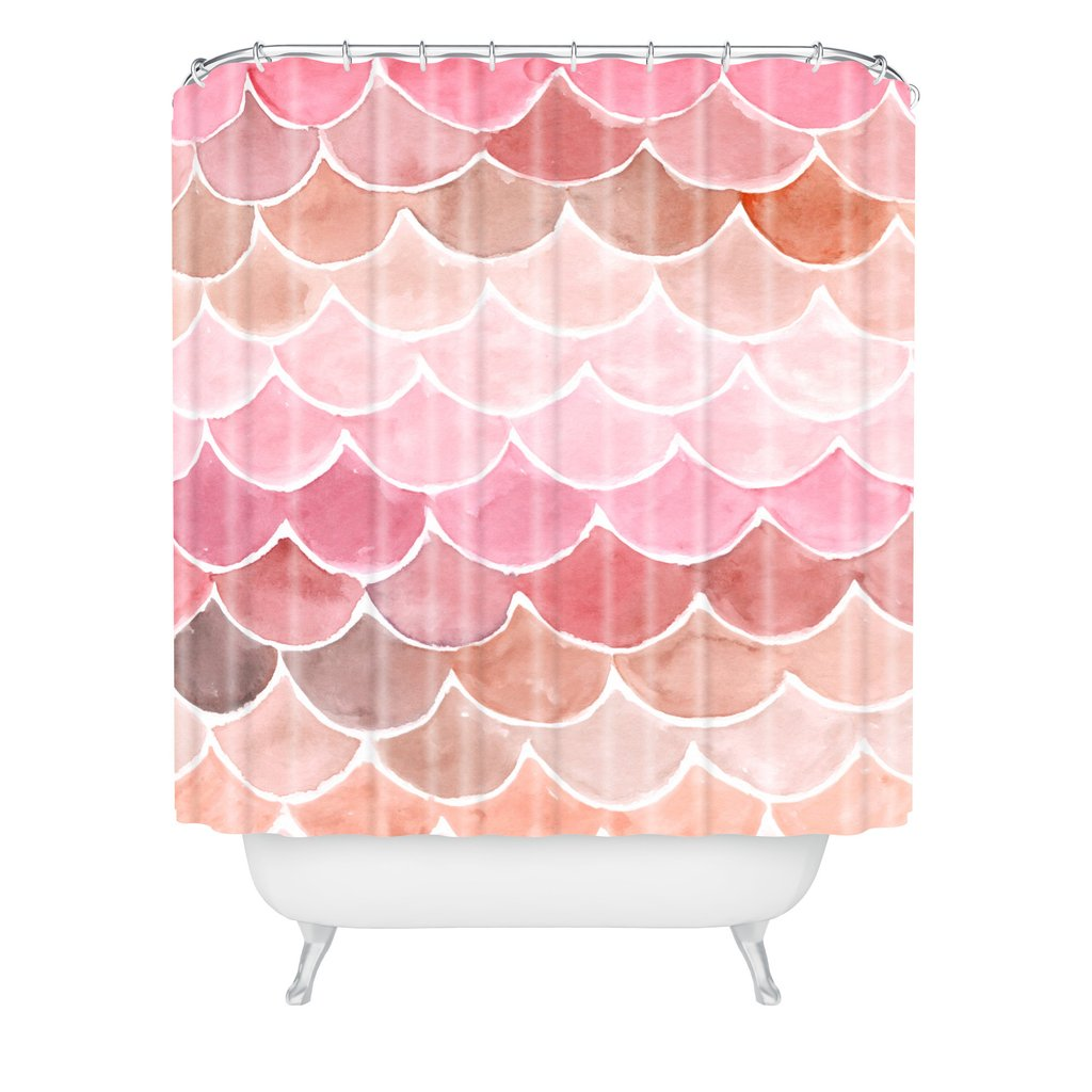 Mermaid Scale Shower Curtain Pink Mermaid Scales Woven Shower Curtain