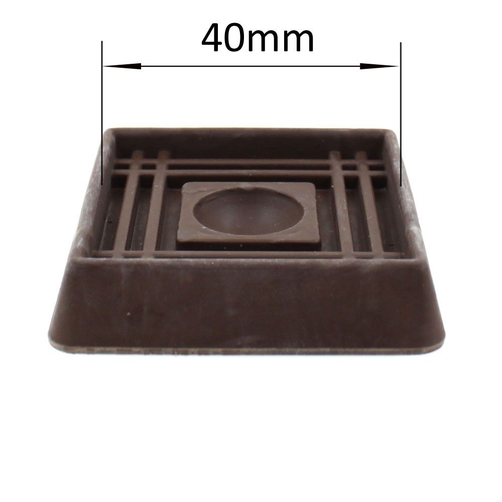 Bed Wheel Stoppers Brown Square Round Rubber Caster Cups Protect Your Floors