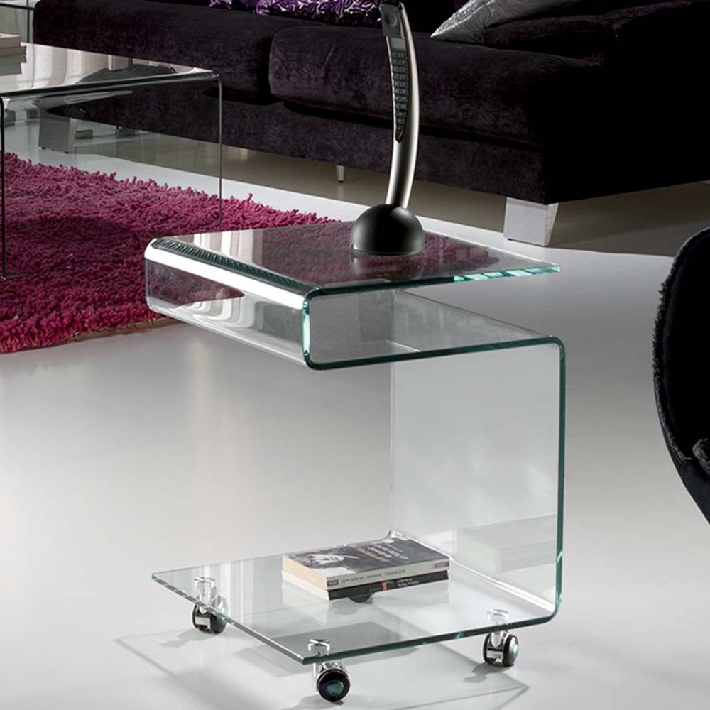 Side Table With Wheels Glass Schuller Wonderlamp Shop