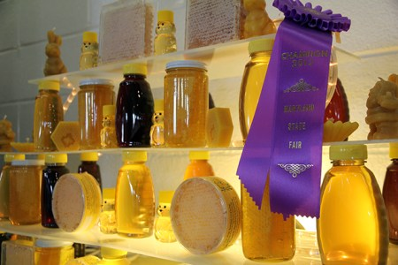 Honey display at the Maryland State Fair 2013