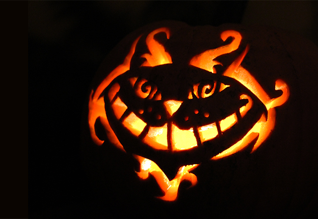 Pumpkin carving in wonderland the cheshire cat for Cat carved into pumpkin