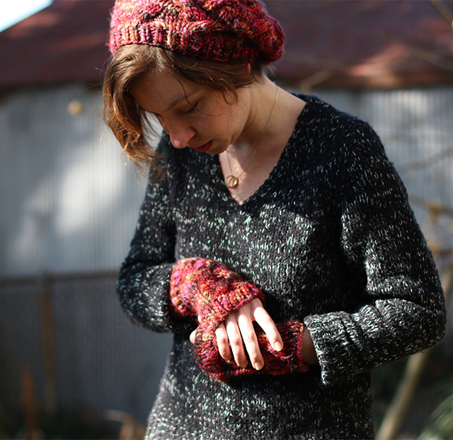 Cabled Winter Hat and Fingerless Gloves