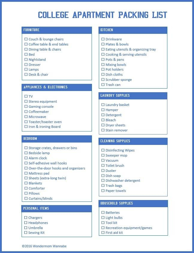 Printable College Apartment Packing List - packing list