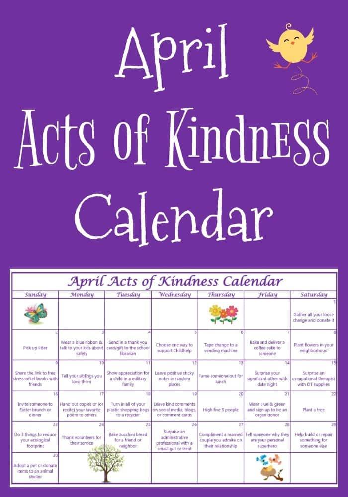 April Acts of Kindness Calendar
