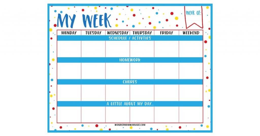 Weekly Planner Printable for Kids