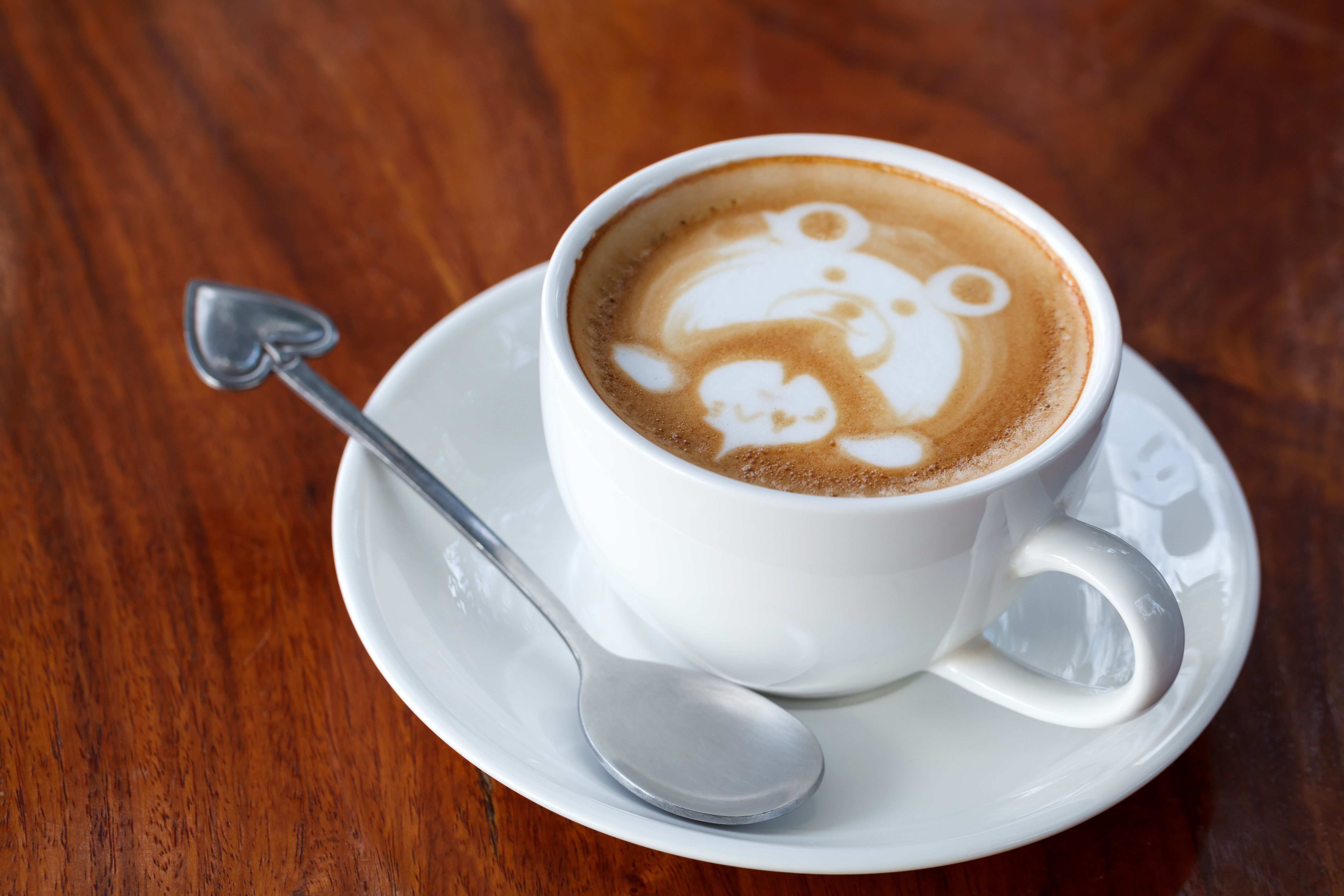 Coffee Art Bear A Cup Of Latte Art Coffee Like Face Bear White Colours