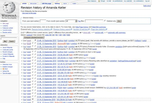 "Revision history for the ""Amanda Keller"" page"