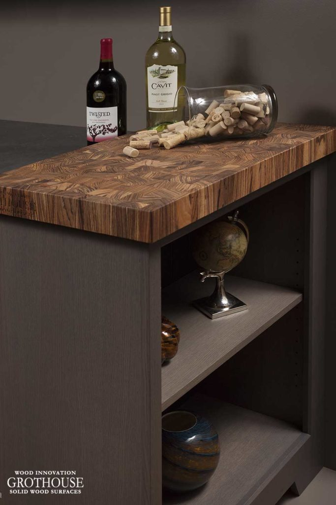 Dark Walnut Distressed Kitchen Cabinet Images Gray Cabinets With Custom Wood Countertops And Butcher Blocks