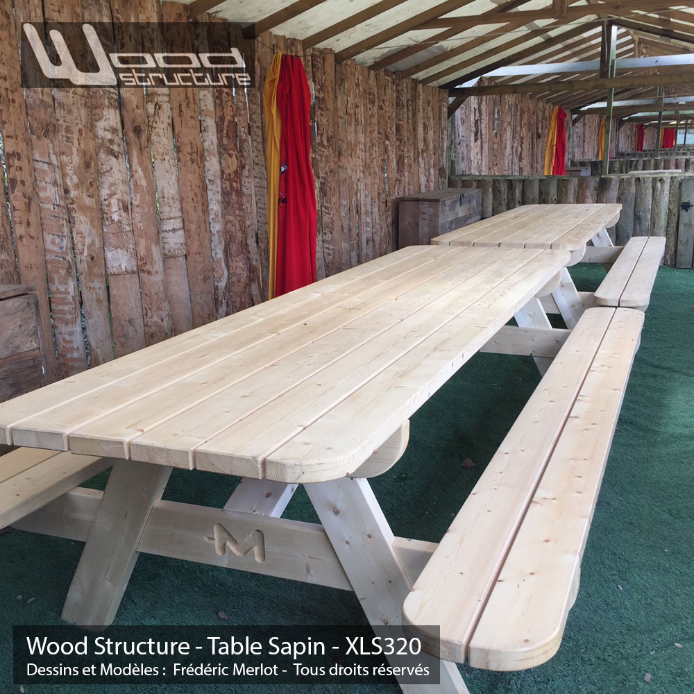 Table Jardin 8 Personnes Table Pique-nique Xl - Table De Jardin - Wood Structure
