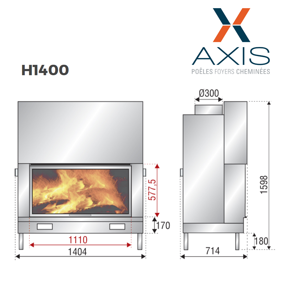 Axis Fireplaces Ax H 1400