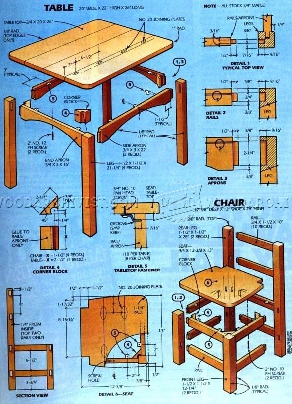 Kids Table And Chair Set Plan O Woodarchivist